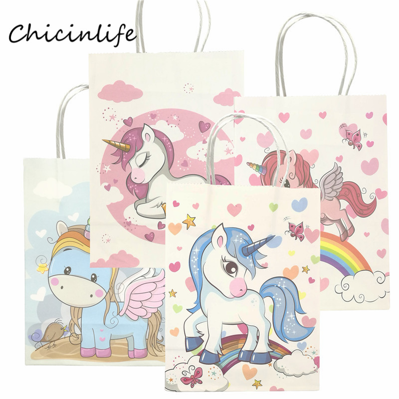 Chicinlife 5pcs Unicorn <font><b>Paper</b></font> Gift Bags <font><b>With</b></font> <font><b>Handle</b></font> Birthday Gift <font><b>Box</b></font> Baby Shower Birthday Packaging Party Supplies Unicorn bag image