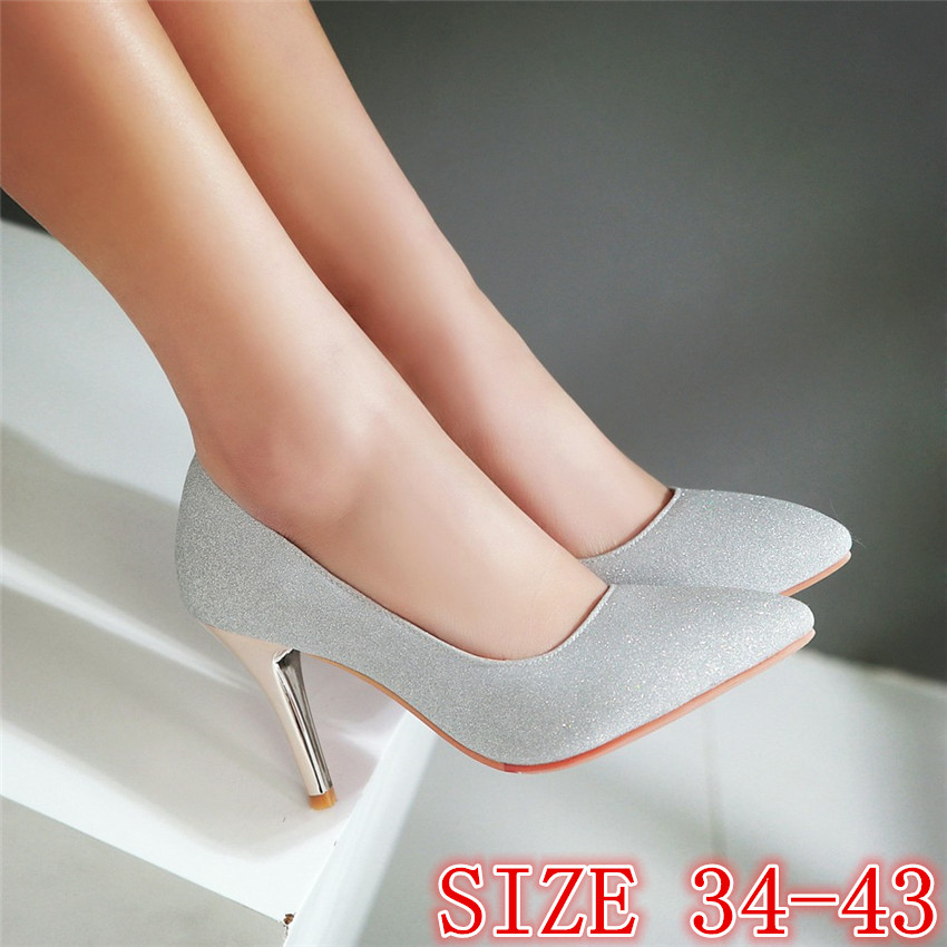High Heels Ladies High Heel Shoes Women Pumps Stiletto Woman Party Wedding Shoes Kitten Heels Plus Size 34 - 40 41 42 43