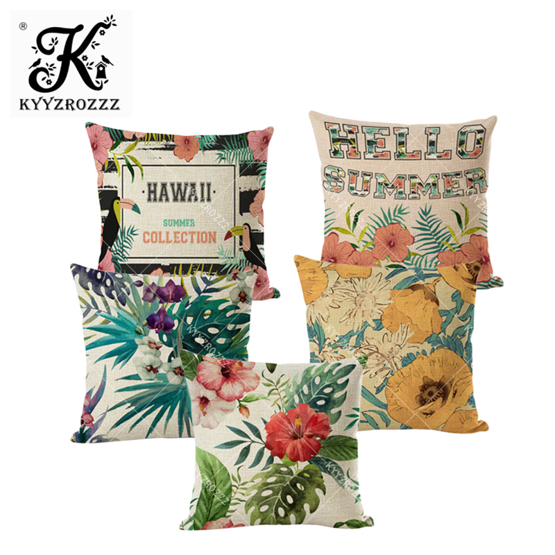 Tropical plants cushion cover leaves flower and birds pattern toucan linen pillow case household office decoration in Cushion Cover from Home Garden