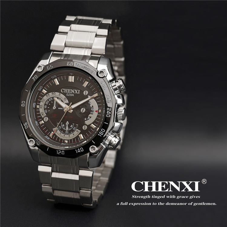 Brand luxury Waterproof relogio masculino men sports quartz watch full steel wristwatches Imitate mechanical hand wind watches