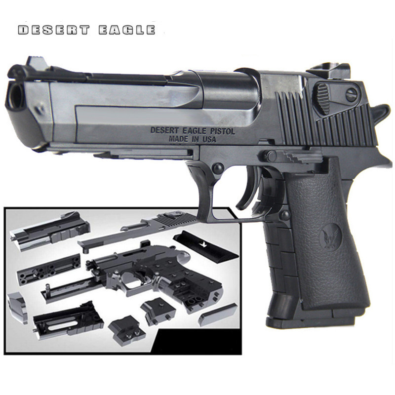 LegoING Building Blocks Sets Gun Desert Eagle Assembly Toy Brain Game Model Can Fire Bullets Military Weapon Educational Toys цена