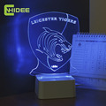 USB 3D Night Light Tiger Football Team Leicester Led Table Desk Lamp Lampara Mesa Escritorio Luz Cocina