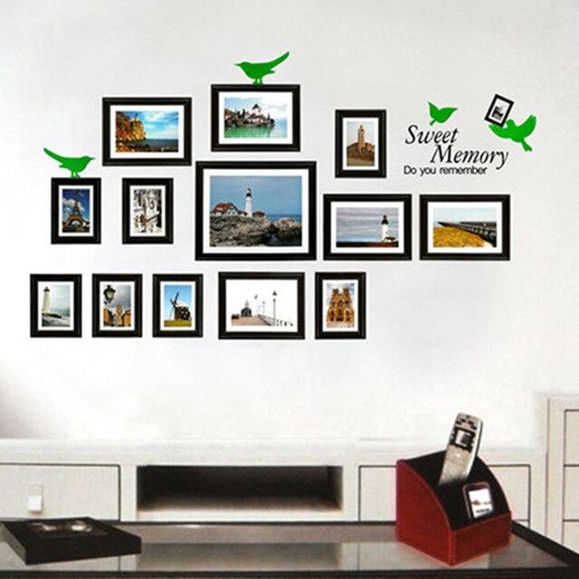Muur foto 39 s van sticker cijfers drie generaties fotolijst versieren van een woonkamer slaapkamer - Versieren van een muur in ...