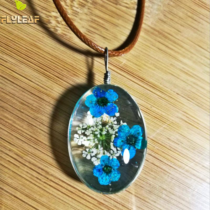 Flyleaf 2017 Handmade Epoxy Natural Dried Eternal Flower Specimens Necklaces & Pendants For Women Casual Girl Jewelry Islamabad