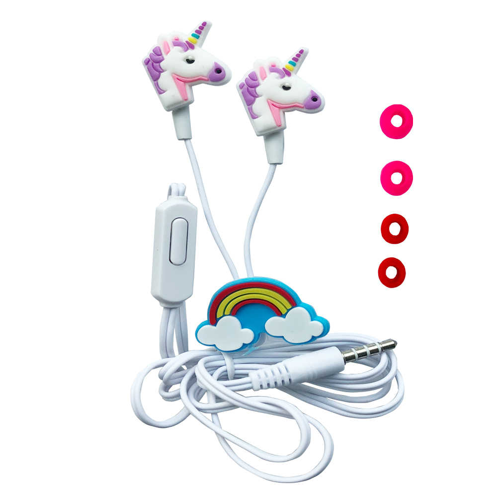 Qearfun Colorful Unicorn Kabel Headphone Anak-anak Musik Stereo Earbud Earphone 3.5 Mm untuk Sony Samsung Hadiah Natal Earphone