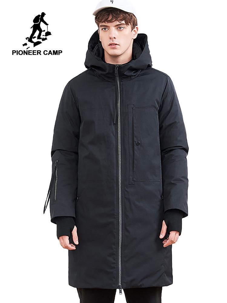 Pioneer campamento 2019 nueva chaqueta de plumón para hombre marca ropa larga de invierno gruesa chaqueta de plumón de pato macho de calidad superior AYR801411-in Plumíferos from Ropa de hombre    1