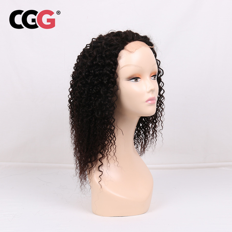 CGG Non-Remy 4*4 Lace Frontal Kinky Curly Human Hair Wigs With Baby Hair Mongolian Hair For Black Women Natural Color
