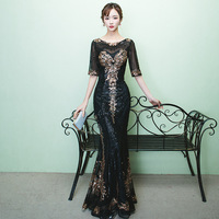 2018 Black Cheongsam Sexy Evening Dress Party Dresses Long Qipao Dress Traditional Chinese Clothes For Woman Lace collar