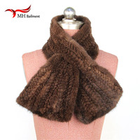 Real fur mink knitted scarf knitted scarf rectangular new fashionable men and women women warm winter scarf S#3