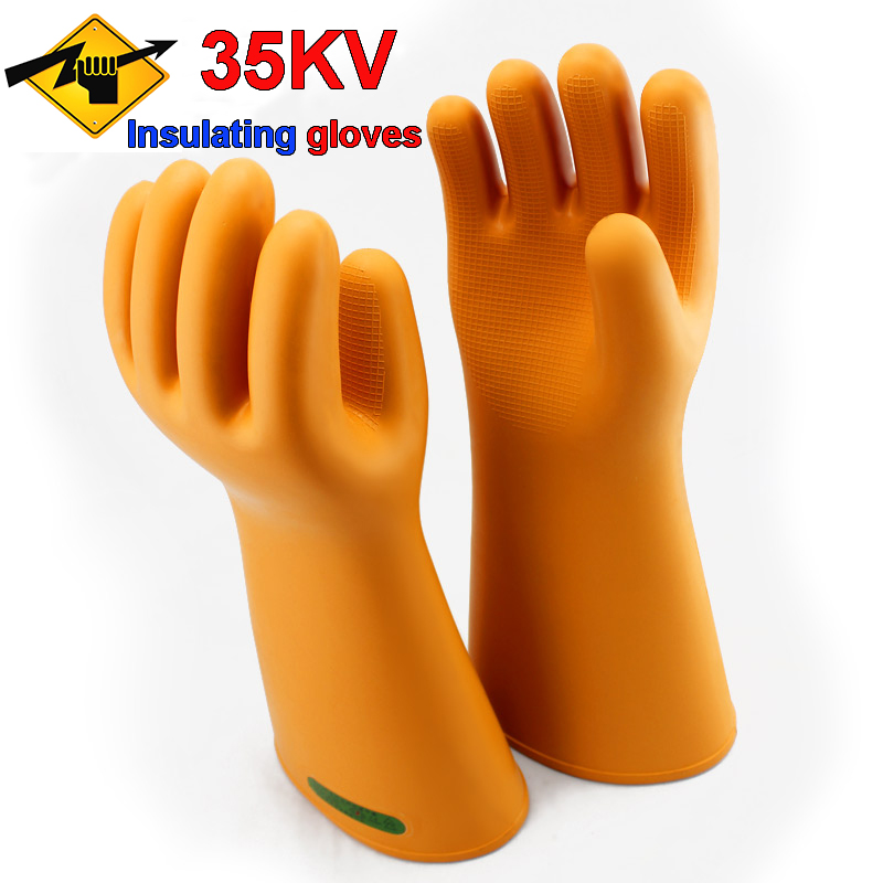 35KV live working insulated gloves truly High voltage live working protective gloves Natural latex Insulated electrician