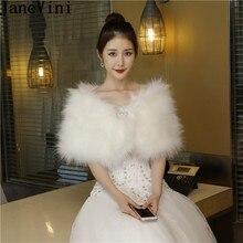 Occasion-Wrap Fur Bolero Boleros-De-Novia Women Capes Beaded-Pin Stole Bride-Shawl Faux-Fur