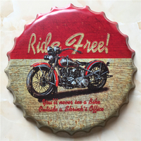 MOTOR Ride free Large Beer Cover Tin Sign Logo Plaque Vintage Metal Painting Wall Sticker Iron Sign Bar KTV Store Decorative