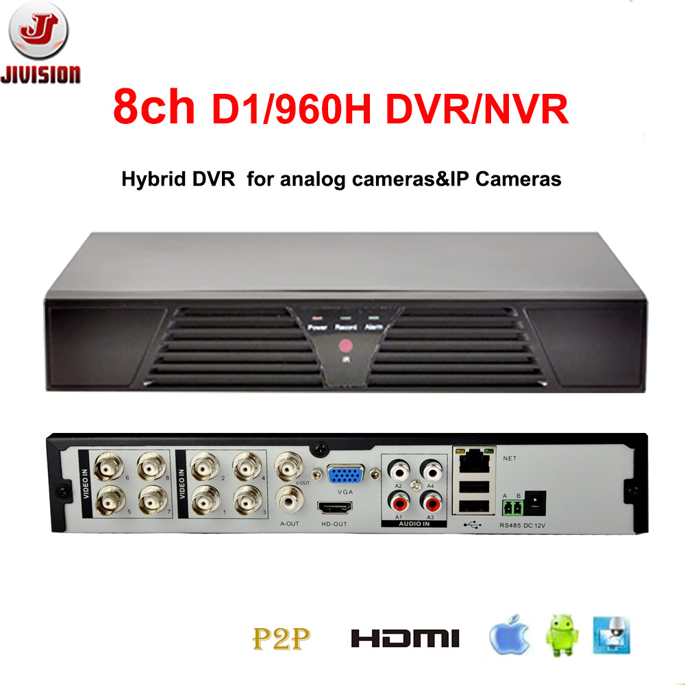 JIVISION 8CH DVR FULL D1 CCTV Recorder HDMI H.264 network Recorder IP DVR NVR 8 channel Stand alone DVR 8 Channels RS485 80 channels hdmi to dvb t modulator hdmi extender over coaxial