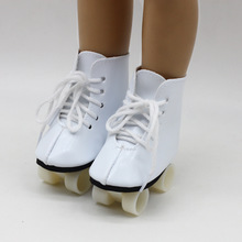 New White Color Doll Handmade Skate Shoes For 18 Inch American Doll Your Generation Girl Doll Baby  Doll Accessories new sports doll accessories new baby born doll shoes for 18 inch american girl doll clothes and shoes accessories