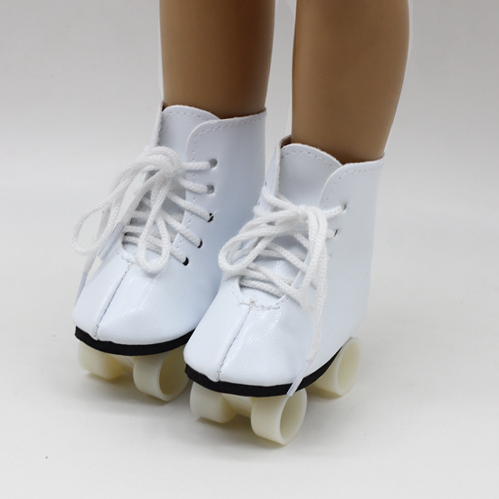 New White Color Doll Handmade Skate Shoes For 18 Inch American Doll Your Generation Girl Doll Baby Doll Accessories image