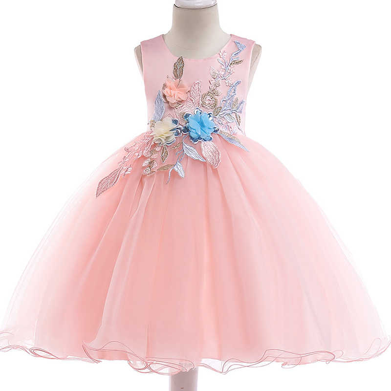 5ac59771e6c Baby Flower Girls Dress Embroidery children Princess formal Party Wedding  Dress for Girls Toddler Children Birthday