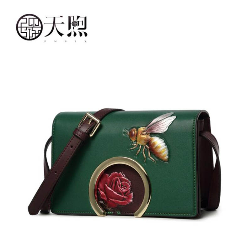 TMSIX 2018 New women genuine leather bags fashion designer Cowhide Embossing handbags leather shoulder Crossbody bags niuboa genuine leather fashion women handbags bucket tote crossbody bags embossing flowers cowhide lady messenger shoulder bags