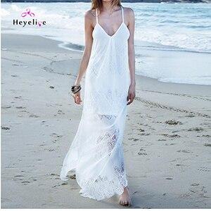 410a109e110db Dropwow Long Dress Bikini Cover Ups Women Dress Solid Lace Sexy ...
