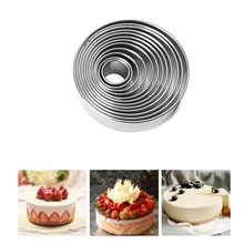 set of 12 Stainless Steel Round Mousse ring Cutter Cutting Mould cake mould donut fondant sugar mould