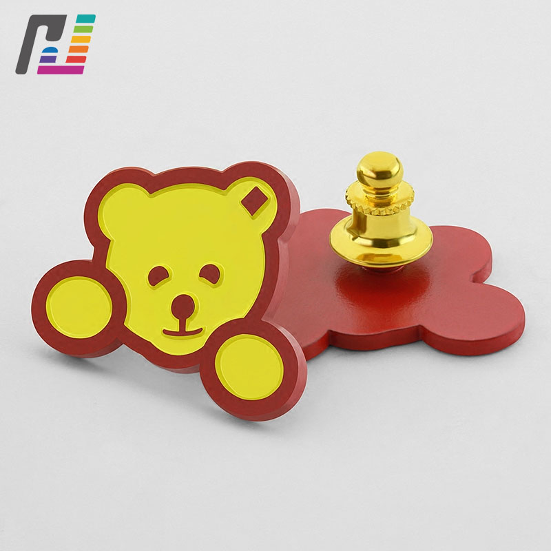 Fashion Cartoon Bear Red Metal Pins Custom Enamel Lapel Pin Brooch Lovely Animal Badge Brooch Buy at Least 50PCS