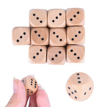 10pcs Wood Dice number or point Cubes Round Coener Kid Toys Game 6 Sided Dice 16 mm*16 mm*16 mm(China)