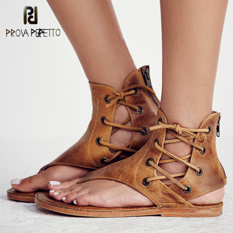 Prova Perfetto 2018 Retro Women Shoes Flat Flip Flop Sandal Woman Real Leather Corss tied Ankle