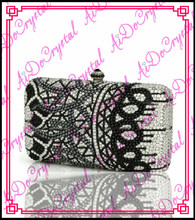 Aidocrystal 100%handmade Shining black beads ladies clutch bag for party