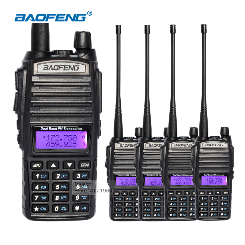 4pcs Baofeng uv 82 Walkie Talkie With Headset Dual Band VHF UHF 2 Way Radios Long