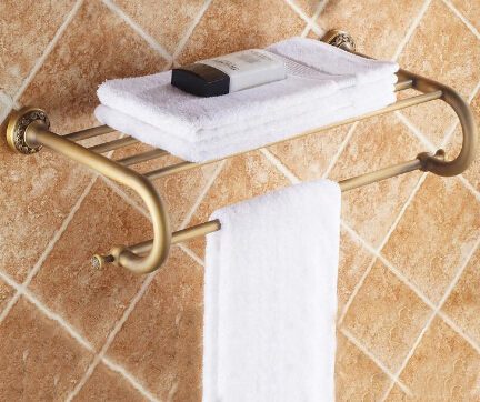 New arrival Antique Brass towel rack bathroom towel shelf bathroom accessories luxury bath towel holder toilet free shipping y3698 retro napkin towel toilet paper bin basket holder antique brass