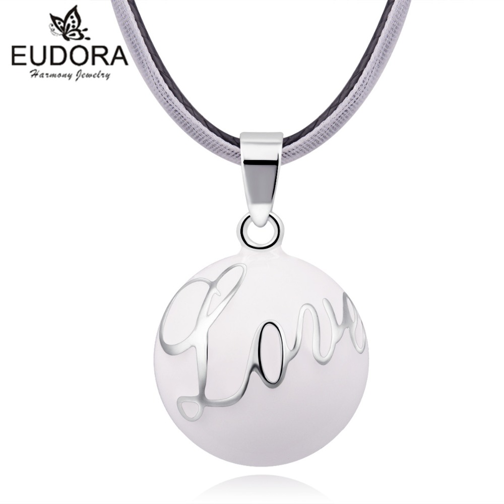 Eudora Maternity Jewelry White Love Chime Bola Pendant with Ribbon Chain Angel Caller Necklace Pregnant Women Jewelry
