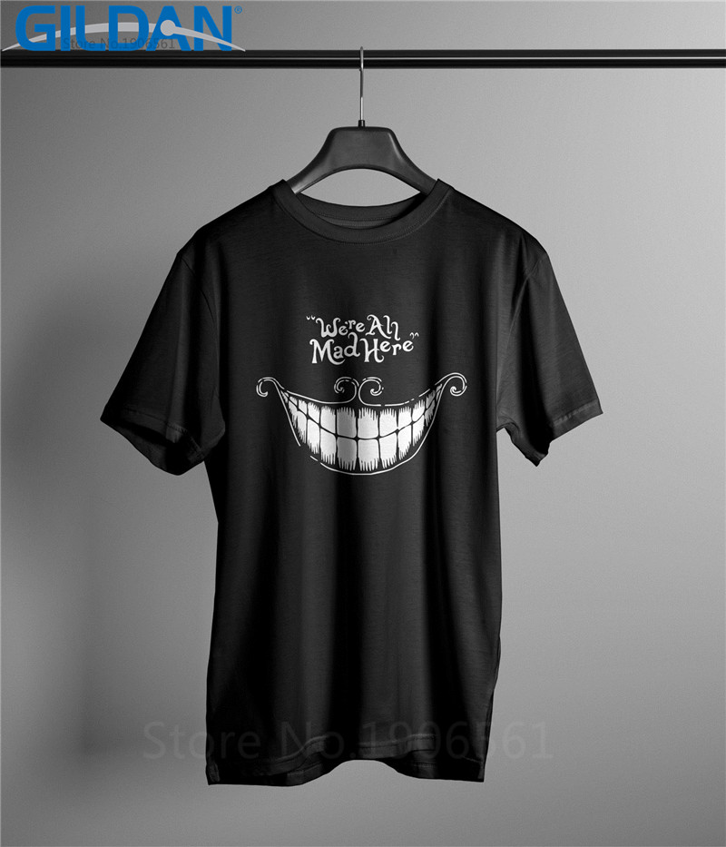 100 Cotton Print Summer Comfort Soft Cartoon We Are All Mad Here Cheshire Cat Alice Crew Neck Short Sleeve Mens Shirt in T Shirts from Men 39 s Clothing