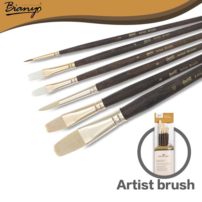 Bianyo 6Pcs Artist Wood Handle Nylon Hair Acrylic Drawing Pas