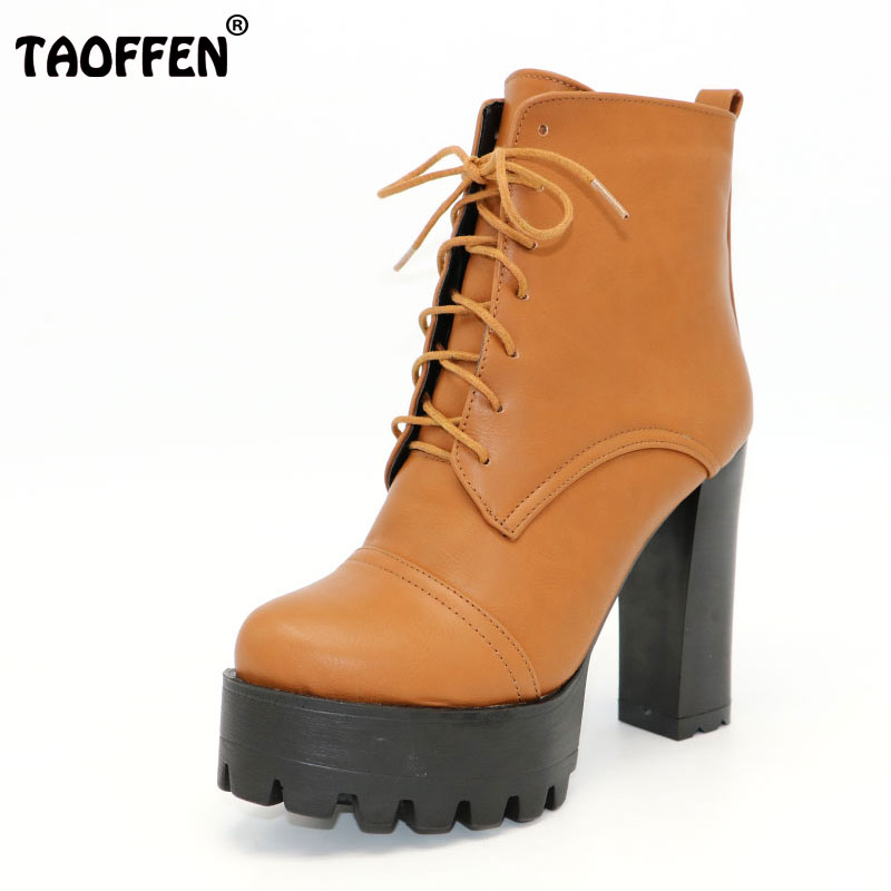 TAOFFEN size 31-43 women high heel mid calf boots platform winter warm round toe botas half short boot footwear shoes P20868 new arrival 2016 winter keep warm women boots low heel round toe platform shoes solid genuine leather mid calf boots
