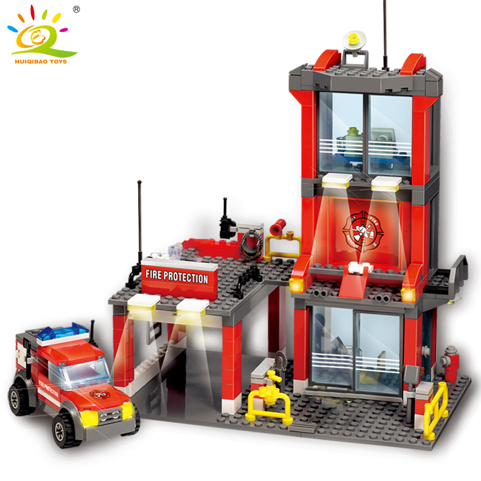 HUIQIBAO 300pcs Fire Station Building Blocks Legoing Model Firefighter Figures City DIY Bricks Gifts For Children