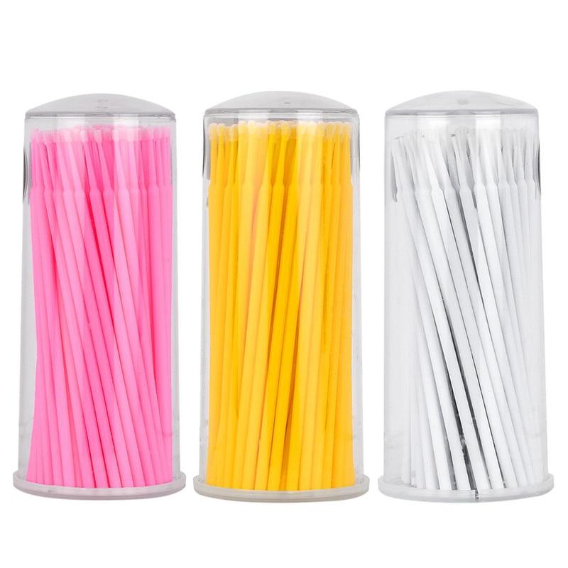 100pcs / Pack Micro Brush Disposable Microbrush Applicators Eyelash Extensions Remove False Eyelashes Cotton Swab(China)