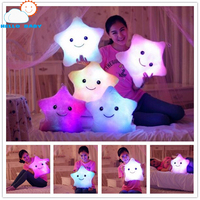 New High Quality Lovely Cute Luminous Pillow Christmas Toy Led Light Plush Pillows Hot Colorful Stars