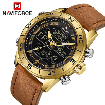 NAVIFORCE Men's Watch Chronograph Dual Display LED Analog Digital Army Military Leather Quartz Watches