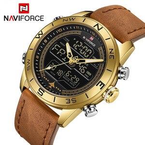 Image 1 - NAVIFORCE 9144 moda złoto mężczyźni Sport zegarki męskie LED zegarek analogowo cyfrowy armia skórzany wojskowy zegarek kwarcowy Relogio Masculino