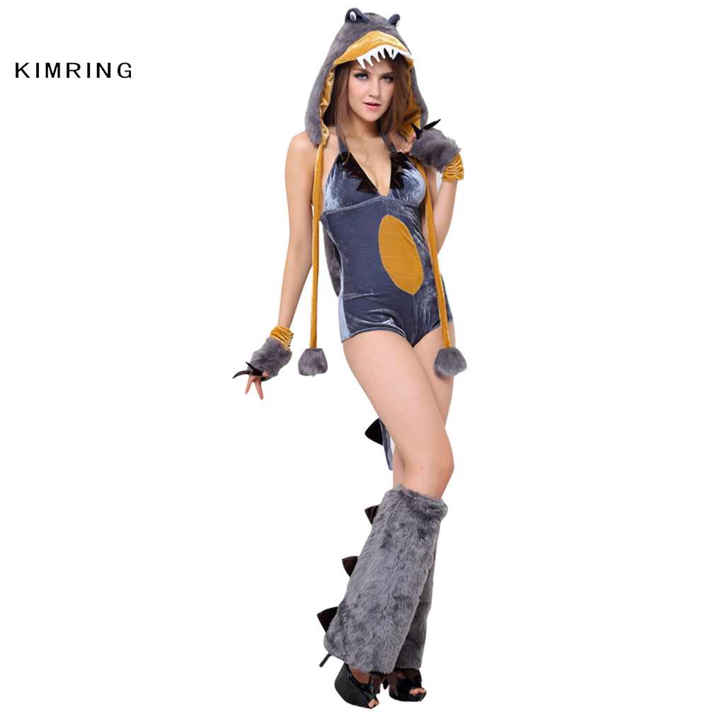 kimring sexy dinosaur romper halloween costume cosplay club fancy animal costume body shaper adult costume for women on aliexpresscom alibaba group