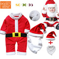 Baby Boy Clothes Winter Christmas Newborn Romper Fashion Baby Winter Jumpsuit+Hat+ Bibs 3pcs Red Baby Christmas Clothes