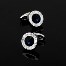 XK253 High quality men business Cufflinks Blue Austria crystal opal Cufflinks men Wedding Shirt accessories