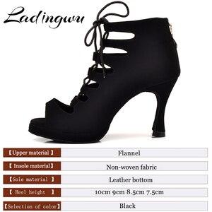Image 5 - Ladingwu جديد المرأة اللاتينية أحذية الرقص قاعة الرقص التانغو منصة السيدات مغرفة مريحة الفانيلا الرقص أحذية أسود 9 سنتيمتر كوبا