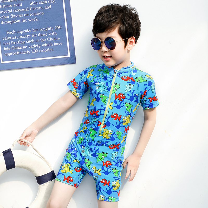 Kids Swimsuit - Shorty One-piece Swimsuit With Anti-uv Protection, Surf Zipper Clothing For Sun Protective Rash Guards Upf 50+
