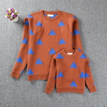2016 Bobo Choses Triangle Pattern Sweaters Family Matching Outfits Sweaters for Mom and Daughter Fashion Cardigan