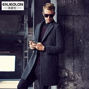 Enjeolon brand Men's casual X-Long Wool Blends Male Single Breasted woolen coats outwear Windbreaker free ship WT0817