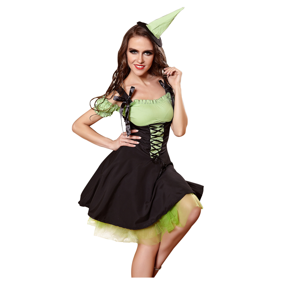 Woman Witch Dress <font><b>Sexy</b></font> Costume <font><b>Halloween</b></font> Costume For Girls Party Costume Cosplay Short Sleeve Dress With Hat <font><b>Disfraces</b></font> Carnival image