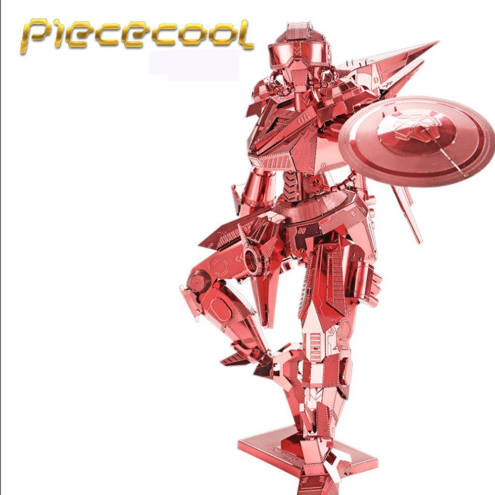 Piececool 7 Stars Difficulty Level 3D Metal Puzzle of Shield Man Robots Red Color 3D DIY Assembly Model Kits for Children GIft