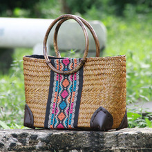 Fashion handmade crisp straw bag casual complex ladies handbag Buneng package cotton and linen clothing wild package