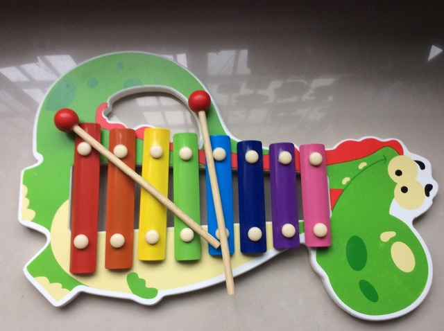 8 escalas de gran tamaño del bebé animal de madera xilófono juguetes música / Kids niños Orff vasta celesta juguetes educativos, 1 unid / caja de color