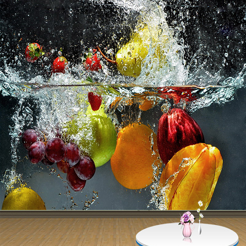 Modern Personality Creative Fruit Falling In Water 3D Mural Wallpaper Dining Room Cafe Backdrop Wall Papers Papel De Parede 3 D